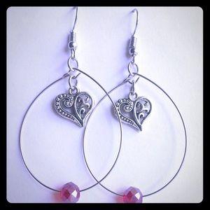 Handmade Teardrop w/Filigree Heart & Red Bead